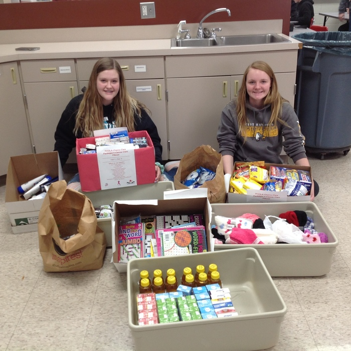 Leaders of chemo care packages, Emily McIntosh and Haleigh Rife